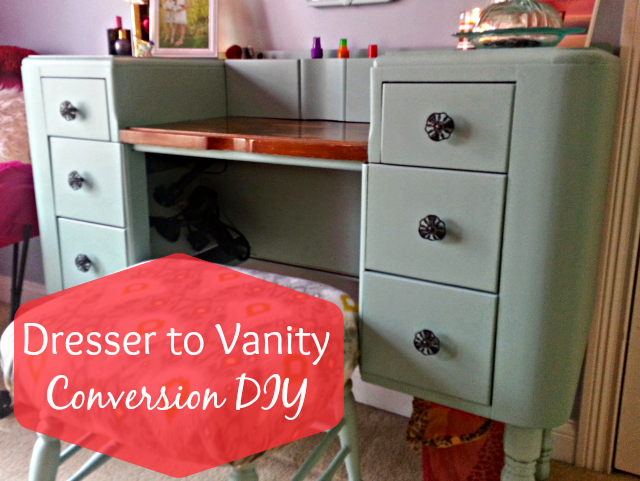 diy dresser to vanity conversion. Black Bedroom Furniture Sets. Home Design Ideas
